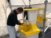 仮設手洗い